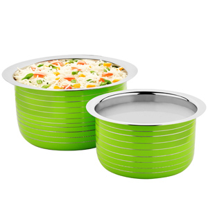 Cookaid Elite Heavy Induction Friendly Patila Set- 2 Pcs GREEN