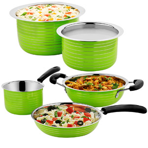 Cookaid Elite Heavy Green Stainless Steel Cookware Set - 5 Pcs