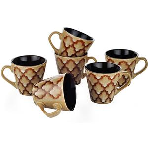 Dorren Crook Studio Tea/Coffee Mugs Set of 6-Brown
