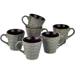 Dorren Crook Studio Tea/Coffee Mugs Set of 6- Grey light