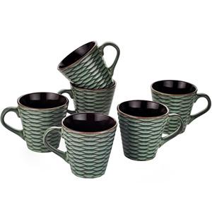 Dorren Crook Studio Tea/Coffee Mugs Set of 6- Green