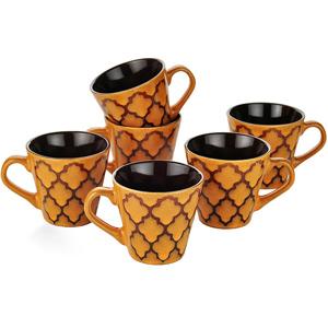 Dorren Crook Studio Tea/Coffee Mugs Set of 6-Orange