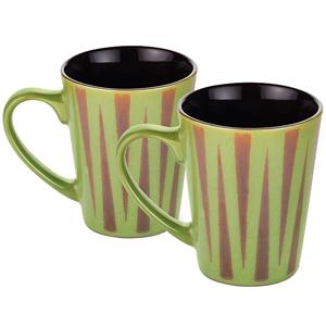 Dorren Crook Studio Designer Mug Set of 2- Green Zig Zag Stripes