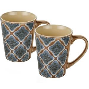 Dorren Crook Studio Designer Mug Set of 2-Brown Embozzed
