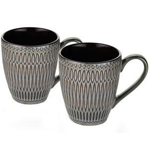 Dorren Crook Studio Designer Mug Set of 2-Light Grey- Embossed Design