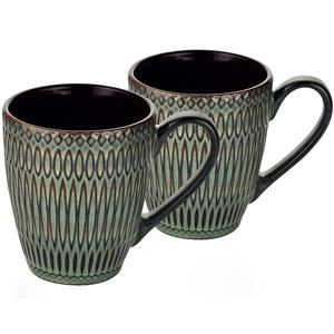 Dorren Crook Studio Designer Mug Set of 2-Green-Embossed Design