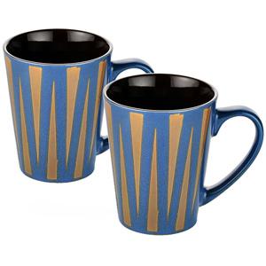 Dorren Crook Studio Designer Mug Set of 2-Blue Zig Zag Stripes