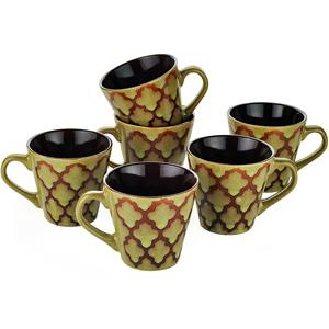 Dorren Crook Studio Tea/Coffee Mugs Set of 6-Green