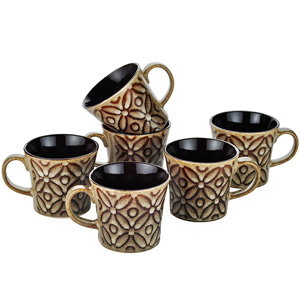 Dorren Crook flowers 6 Pcs Coffee Mugs -Brown