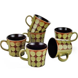 Dorren Crook Circle 6 Pcs Coffee Mugs - Green