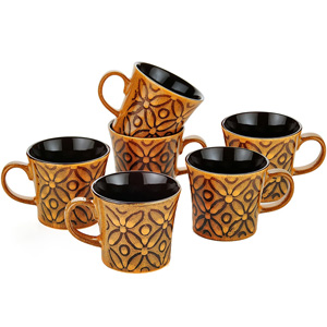 Dorren Crook flowers 6 Pcs Coffee Mugs -Orange
