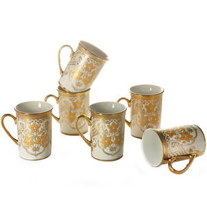 Good Homes Studio Tea/coffee mugs set of 6-Orange