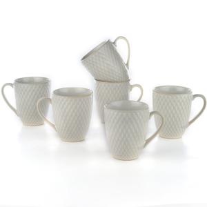 Eudora Embossed Coffee Mugs Set of 6 Zig -Zag