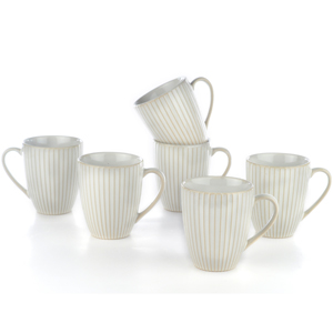 Eudora Embossed Coffee Mugs Set of 6 Line
