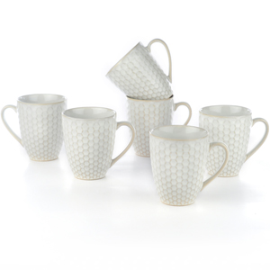 Eudora Embossed Coffee Mugs Set of 6 Round
