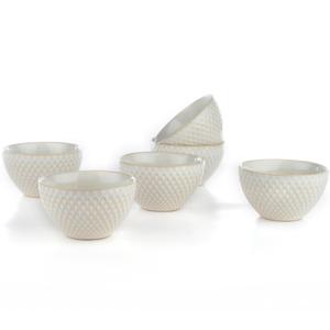 Eudora Embossed Pudding Bowls Set of 6 Zig -Zag