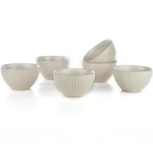Eudora Embossed Pudding Bowls Set of 6 Line