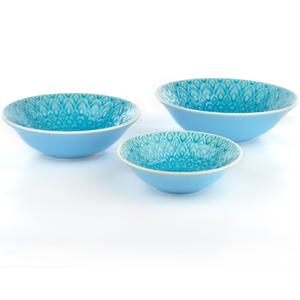 Eudora Embossed Serving Bowls Set of 3 - Blue