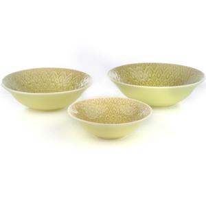 Eudora Embossed Serving Bowls Set of 3 - Green