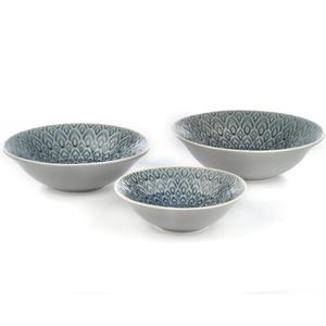 Eudora Embossed Serving Bowls Set of 3 - Grey