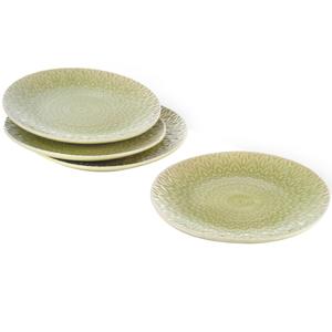 Eudora Embossed Snacks Plate Set of 4 -Green