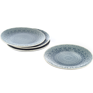 Eudora Embossed Snacks Plate Set of 4 -Grey