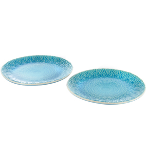 Eudora Embossed Serving Plate Set of 2 -Blue