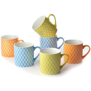Good Homes Emboss Geometric Net Design Tea/Coffee Mugs Set of 6