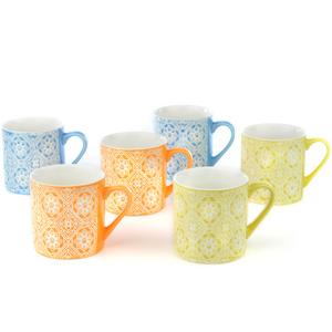 Good Homes Emboss Geometric Floral Wallpaper Design Tea /Coffee Mugs Set of 6