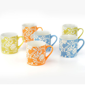 Good Homes Emboss Floral Stem Wallpaper Design Tea/Coffee Mugs Set of 6