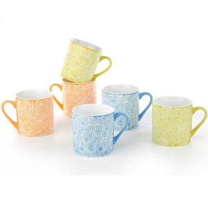 Good Homes Emboss Geometric Loop Design Tea/Coffee Mugs Set of 6