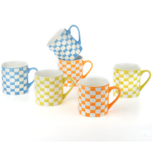 Good Homes Emboss Chic Cheque Design Tea/Coffee Mugs Set of 6