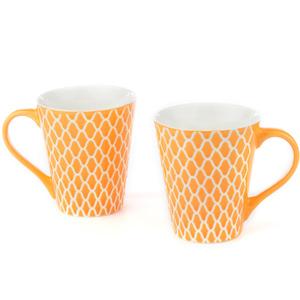Good Homes Emboss Geometric Net Design Milk Mugs Set of 2 - Orange
