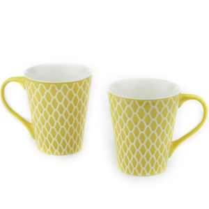 Good Homes Emboss Geometric Net Design Milk Mugs Set of 2 - Green