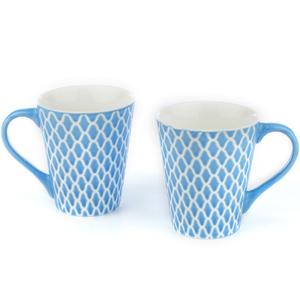 Good Homes Emboss Geometric Net Design Milk Mugs Set of 2 - Blue
