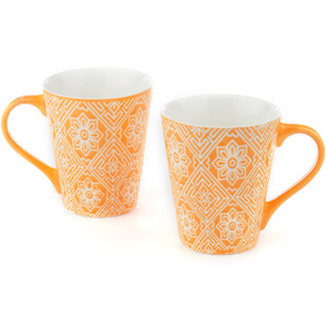 Good Homes Emboss Floral Wallpaper Design Milk Mugs Set of 2 - Orange