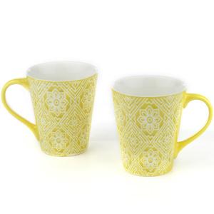 Good Homes Emboss Floral Wallpaper Design Milk Mugs Set of 2 - Green