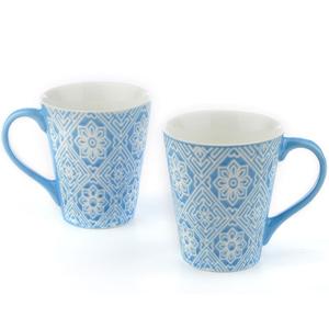 Good Homes Emboss Floral Wallpaper Design Milk Mugs Set of 2 - Blue