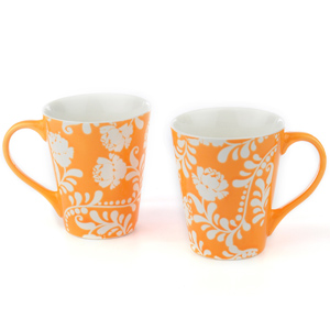 Good Homes Emboss Floral Stem Wallpaper Milk Mugs Set of 2 - Orange