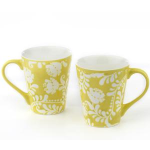 Good Homes Emboss Floral Stem Wallpaper Milk Mugs Set of 2 - Green
