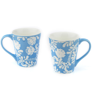 Good Homes Emboss Floral Stem Wallpaper Milk Mugs Set of 2 - Blue