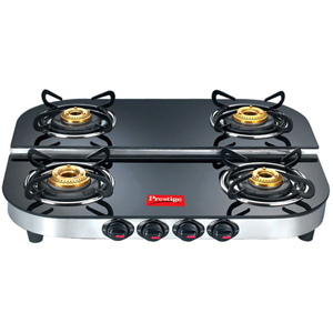 Gas Tops & Cook Tops-Prestige 4 Burners Duplex Glass Top - DGT 04 SS