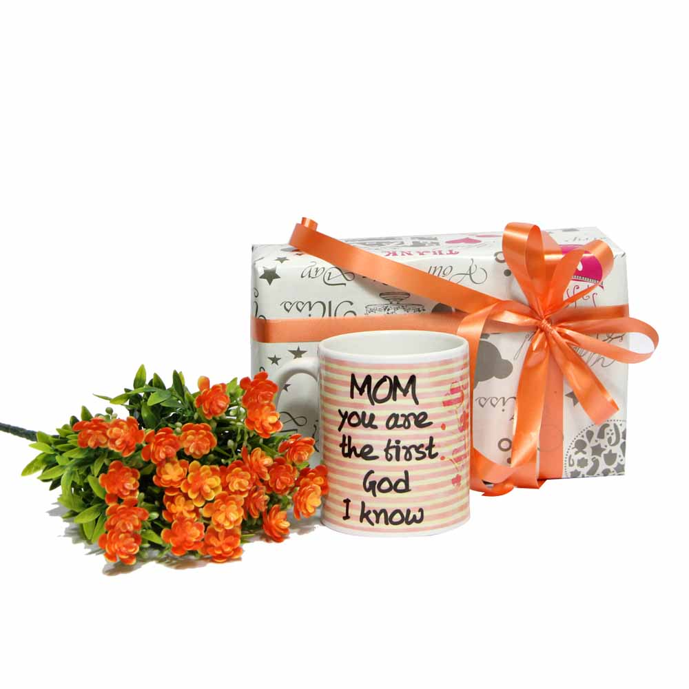Mug with Orange Flowers