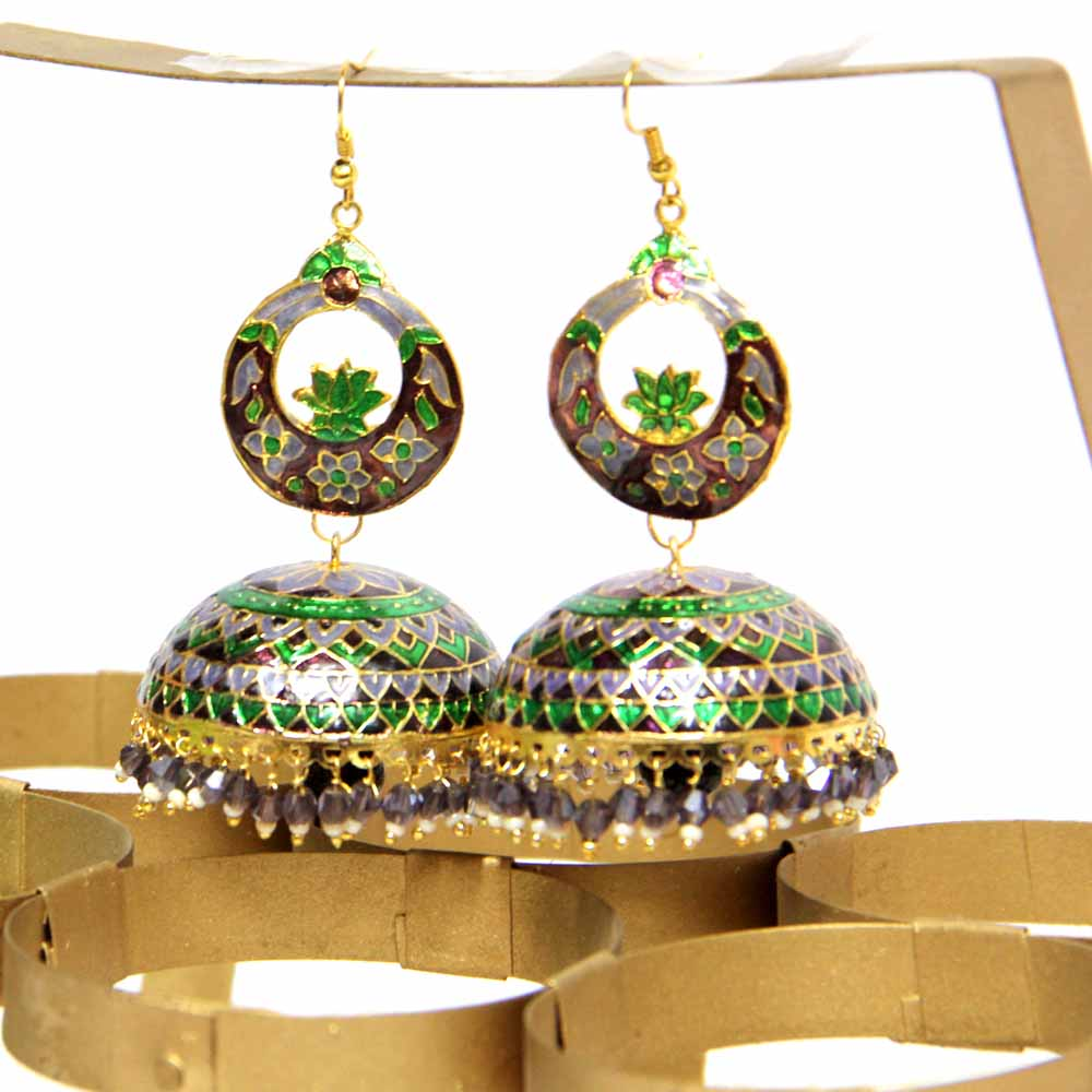 Golden Green Jhumke