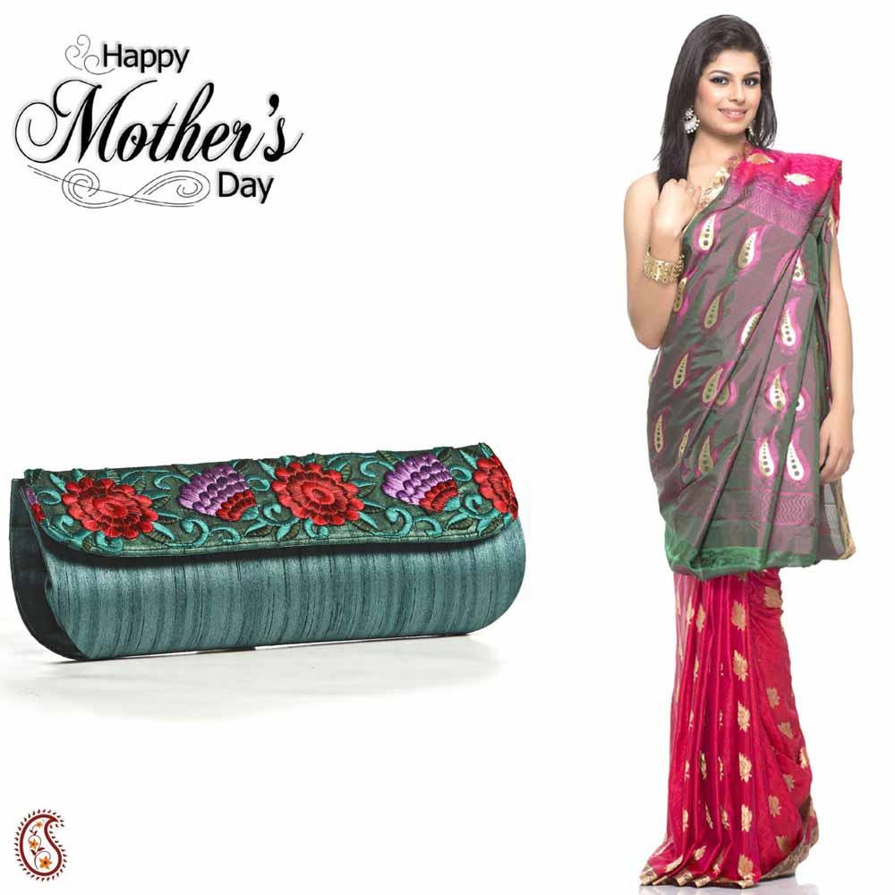 Set of Pink Saree & Green Clutch Bag