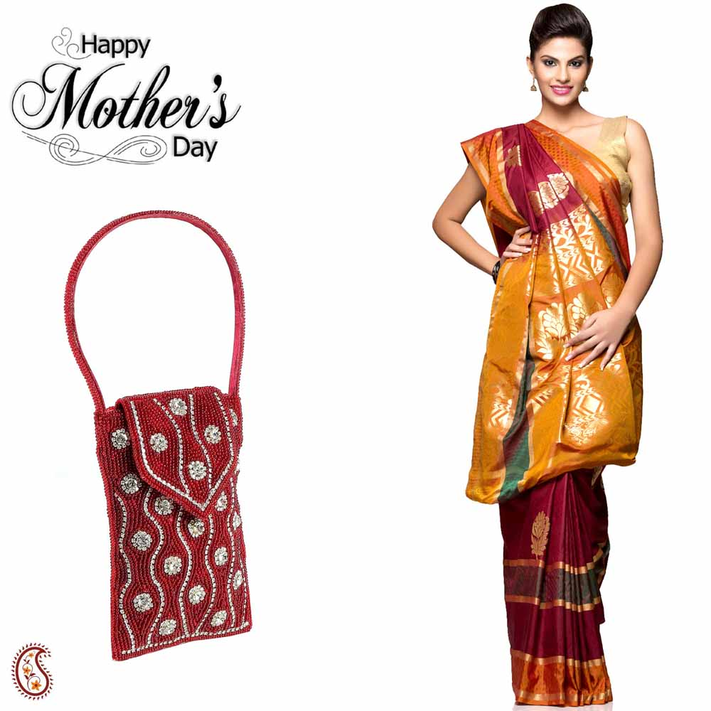 Combo of Beautiful Saree & Red Cell Phone Bag
