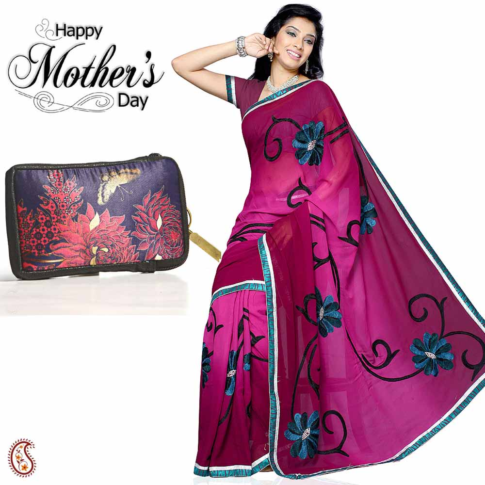Combo of Dark Pink Elegant Saree & Blue Clutch Bag