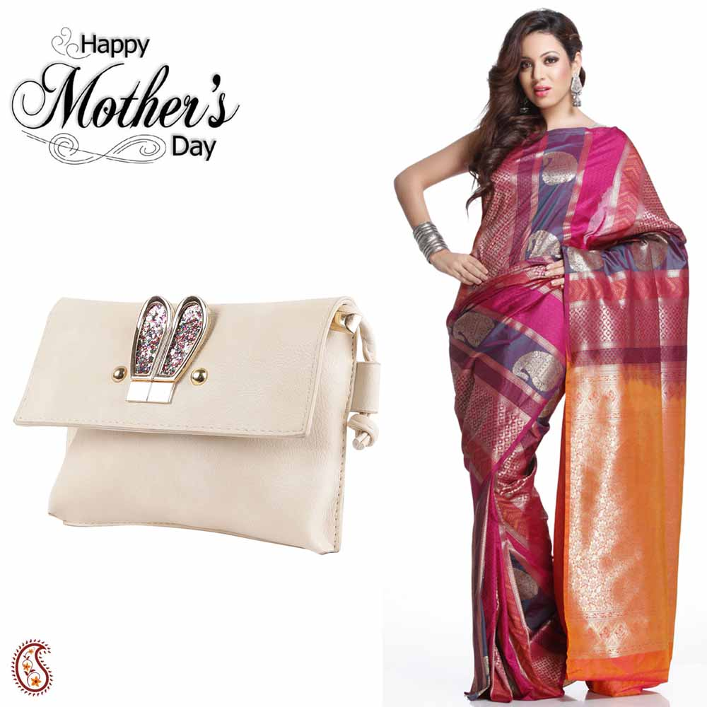 Beautiful Multicolor Saree & White Sling Bag