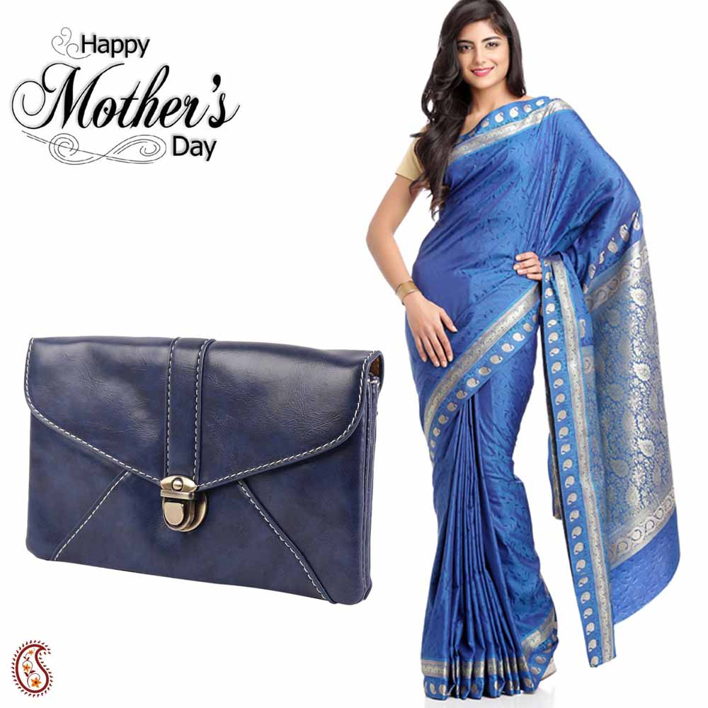 Lovely Blue Shade Saree & Dark Blue Sling Bag