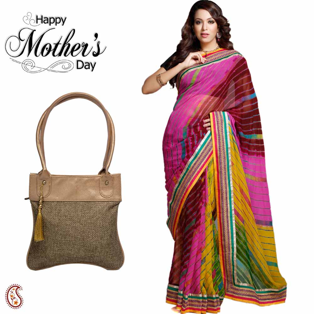 Pretty Multicolor Saree & Beige Hand Bag